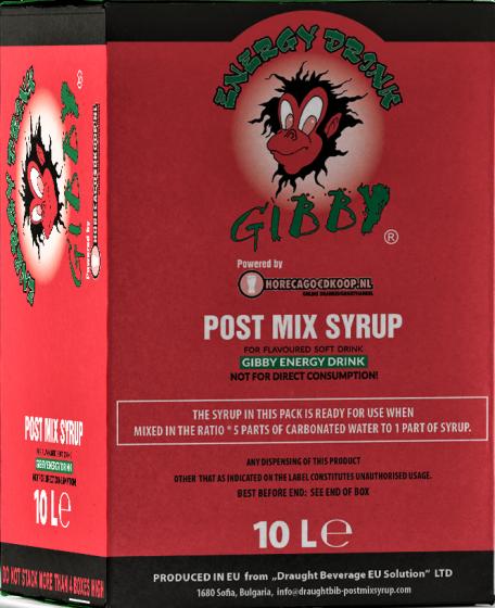 Gibby Huismerk Energy drink Siroop BIB 10L