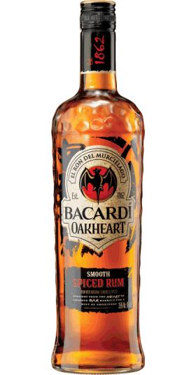 Bacardi rum Oakheart fles 1 Liter goedkoop bacardi